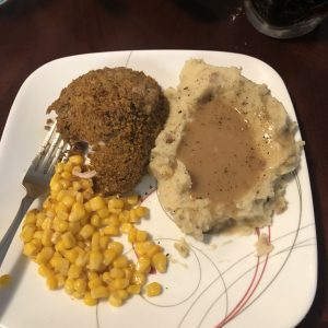 Rogues Gravy with a side of mash potatoes, corn and chicken.